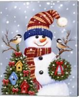 Snowman With Wreath Fine Art Print