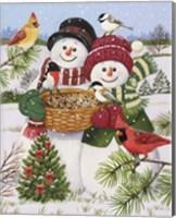 Snow Couple Feeding Birds Fine Art Print