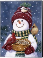 Snowman Feeding Birds Fine Art Print