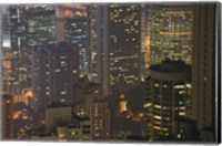 High angle view of buildings lit up at dusk, Central District, Hong Kong Fine Art Print