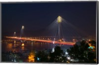 Bridge lit up at night, Ting Kau Bridge, Rambler Channel, New Territories, Hong Kong Fine Art Print