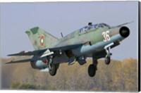 A Bulgarian Air Force MiG-21UM jet fighter taking off Fine Art Print