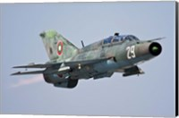A Bulgarian Air Force MiG-21UM in flight over Bulgaria Fine Art Print