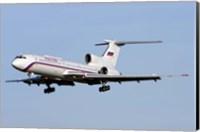 A Tupolev Tu-154M on final approach in Bulgaria Fine Art Print