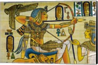 Egypt, hand painted papyrus hunting scene Fine Art Print