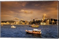 Boats in Victoria Harbor at Sunset, Hong Kong, China Fine Art Print