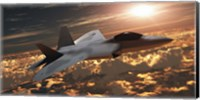 An F-22 fighter jet flies at an altitude above the cloud layer on its mission Fine Art Print