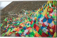 Praying Flags with Mt. Quer Shan, Tibet-Sichuan, China Fine Art Print