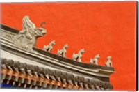 Rooftop figures and colorful wall, Forbidden City, Beijing, China Fine Art Print