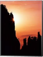 Sunburst on Craggy Huangshan Peaks, Anhui, China Fine Art Print