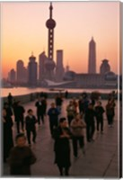 Tai-Chi on the Bund, Oriental Pearl TV Tower and High Rises, Shanghai, China Fine Art Print