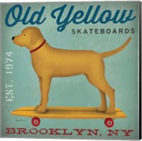 Golden Dog on Skateboard Fine Art Print