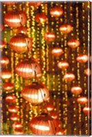 Beijing Hotel Lobby and Red Chinese Lanterns, China Fine Art Print