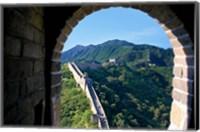 China, Huairou, Mutianyu, Great Wall, turret window Fine Art Print