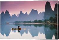 Cormorant fishing at dusk, Li river, Guangxi, China Fine Art Print