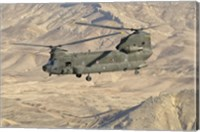 Italian Army CH-47C Chinook Helicopter Over Afghanistan Fine Art Print