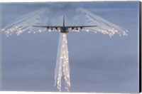 MC-130H Combat Talon Dropping Flares Fine Art Print