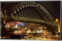 Australia, NSW, Sydney Harbour Bridge, Tour Boat at Night Fine Art Print