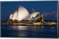 Australia, Sydney Opera House at night on waterfront Fine Art Print