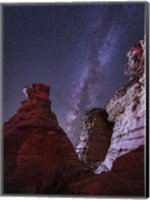 Milky Way  above the Wedding Party Rock Formation, Oklahoma Fine Art Print