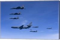 Six F-15 Eagles Refuel from a KC-10 Extender Fine Art Print