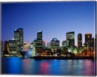 Skyline and Cruise Ship at Night, Sydney, Australia Fine Art Print