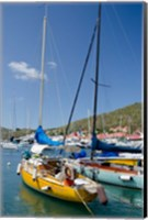 Colorful boats, Gustavia, Shell Beach, St Bart's, West Indies Fine Art Print