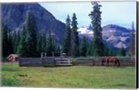Log Cabin, Horse and Corral, Banff National Park, Alberta, Canada Fine Art Print