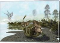 Velociraptor is attacking a Protoceratops Fine Art Print