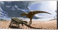 A Tarbosaurus dinosaur and an armored Saichania ankylosaurid Fine Art Print
