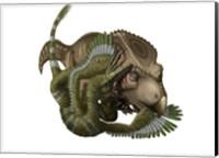 A Velociraptor attacks a Protoceratops Fine Art Print