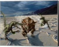Velociraptors chase a Bagaceratops in a prehistoric desert Fine Art Print