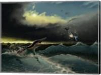 Pliosaurus irgisensis attacking a shark Fine Art Print