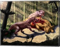 Biarmosuchus predators eating the flesh of a Estemmenosuchus Fine Art Print