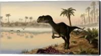 Yangchuanosaurus eats the carrion of a dead animal Fine Art Print