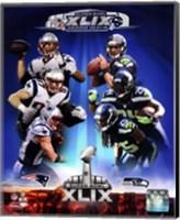 Super Bowl XLIX Seattle Seahawks Vs. New England Patriots Match Up Composite Fine Art Print