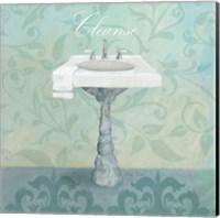 Damask Bath Sink Fine Art Print