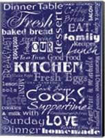 Kitchen Cooks Indigo Fine Art Print