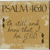 Psalms 46-10 Gold Fine Art Print