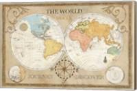 Old World Journey Map Cream Fine Art Print