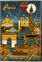 Paris Evening And Balloon Fine Art Print