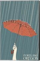 Portland Oregon Umbrella In Rain Fine Art Print