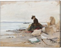 Painter At The Beach Fine Art Print