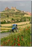 Blue tractor on rural road, San Vicente de la Sonsierra Village, La Rioja, Spain Fine Art Print