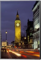 Big Ben at night with traffic, London, England Fine Art Print