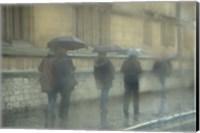 Walking in the rain, Oxford University, England Fine Art Print
