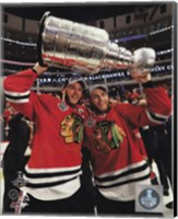 Jonathan Toews & Patrick Kane with the Stanley Cup Game 6 of the 2015 Stanley Cup Finals Fine Art Print