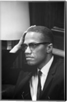Malcolm X Waits at Martin Luther King Press Conference Fine Art Print
