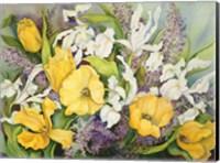 Yellow Tulips, White Iris And Heather Fine Art Print