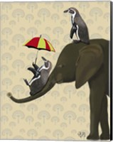 Elephant and Penguins Fine Art Print